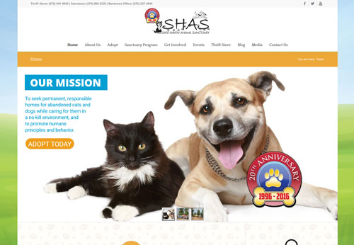 Safe Haven Animal Sanctuary Website Design and Development by Creative Group Sullivan Design LLC